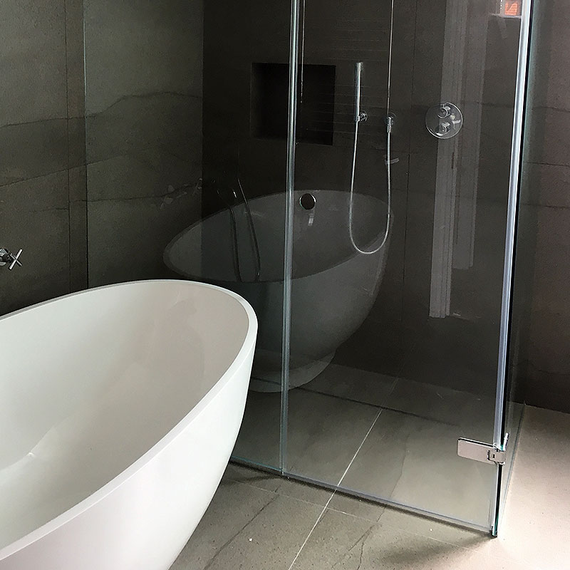 Large bespoke glass corner unit