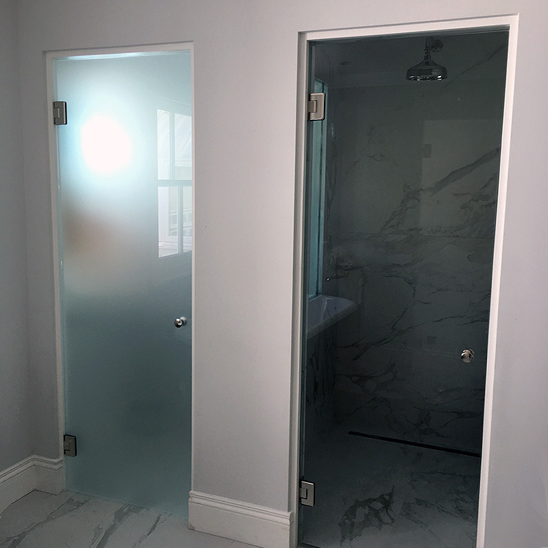 Bespoke glass doors for shower and toilet