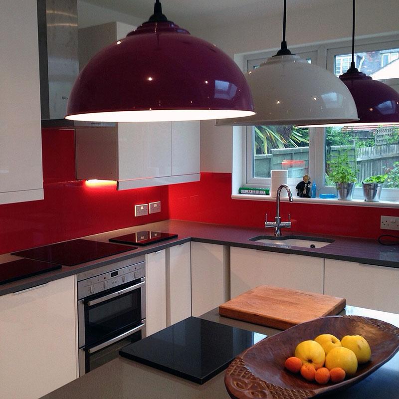 red glass kitchen splashback