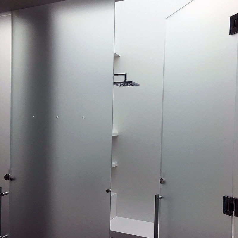 Frosted glass shower surround