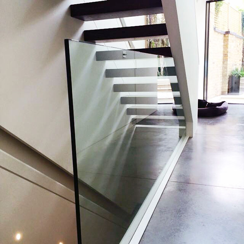Glass balustrade in a London home