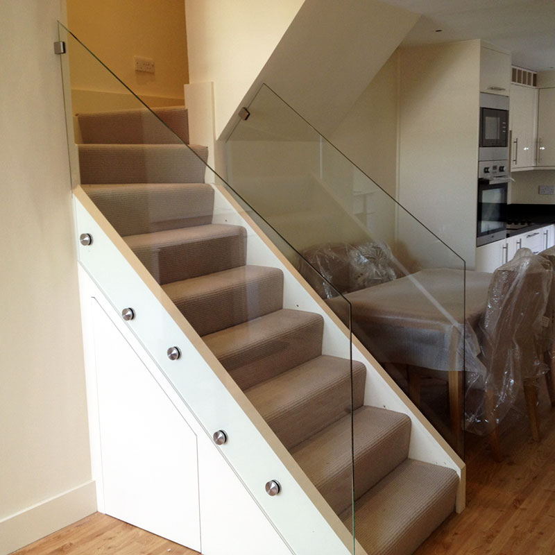 Glass balustrades in a London home