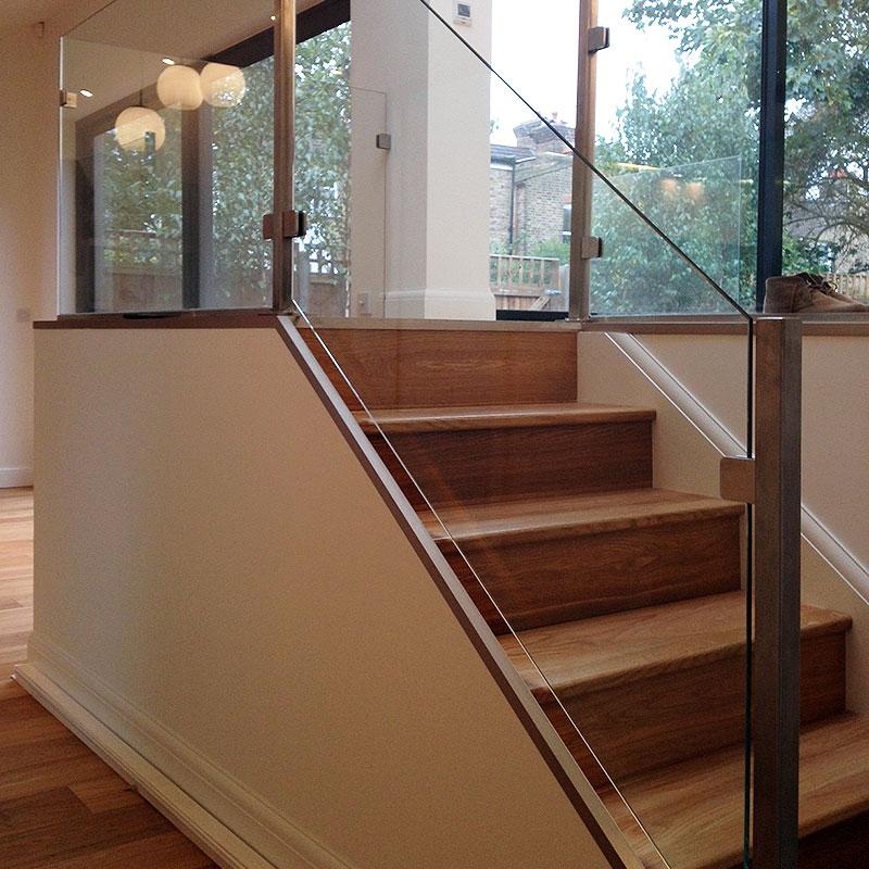 Interior glass balustrades leading to mezzanine
