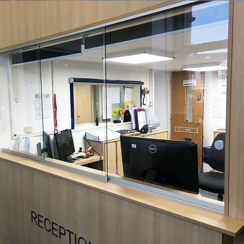 Glass panes for a school reception area