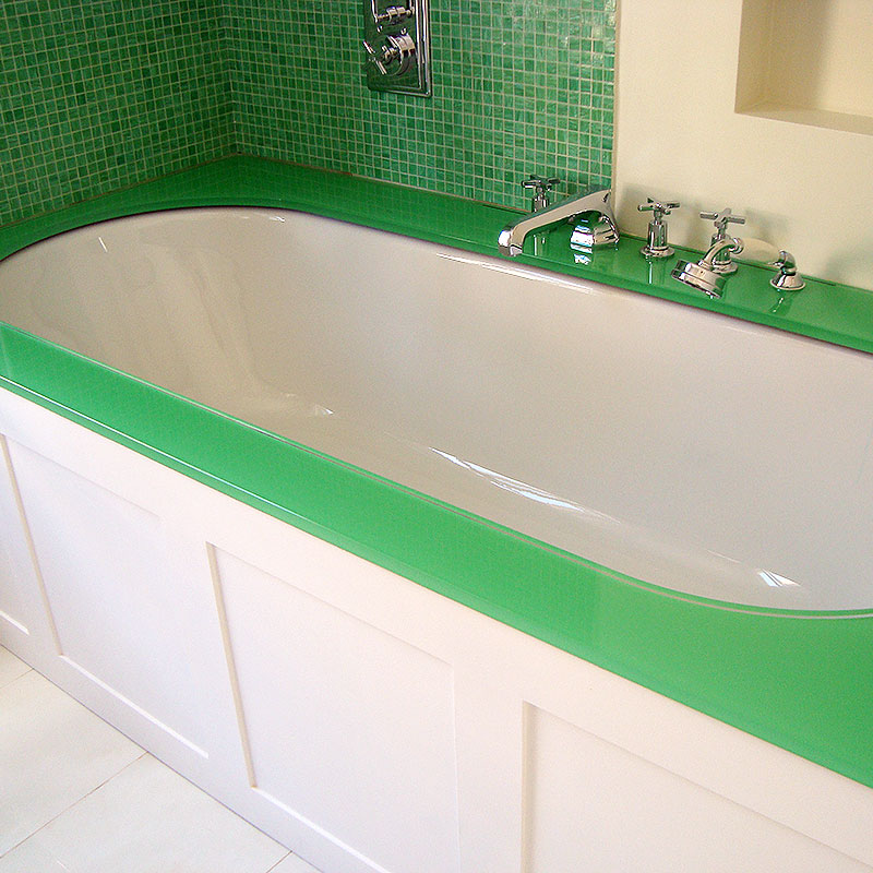 Green glass bath surround