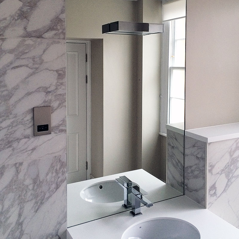 Bathroom mirror with inset light