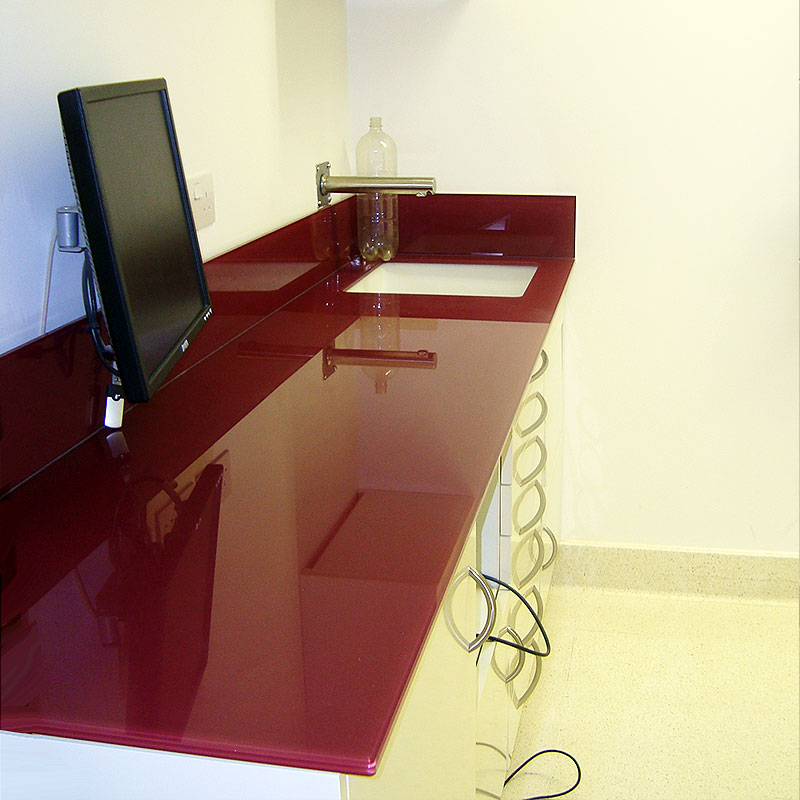 Bespoke red consulting room counter glass