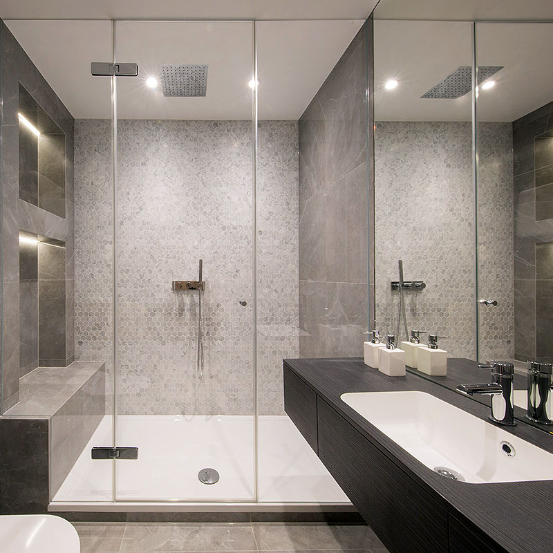 Large glass shower cubicle