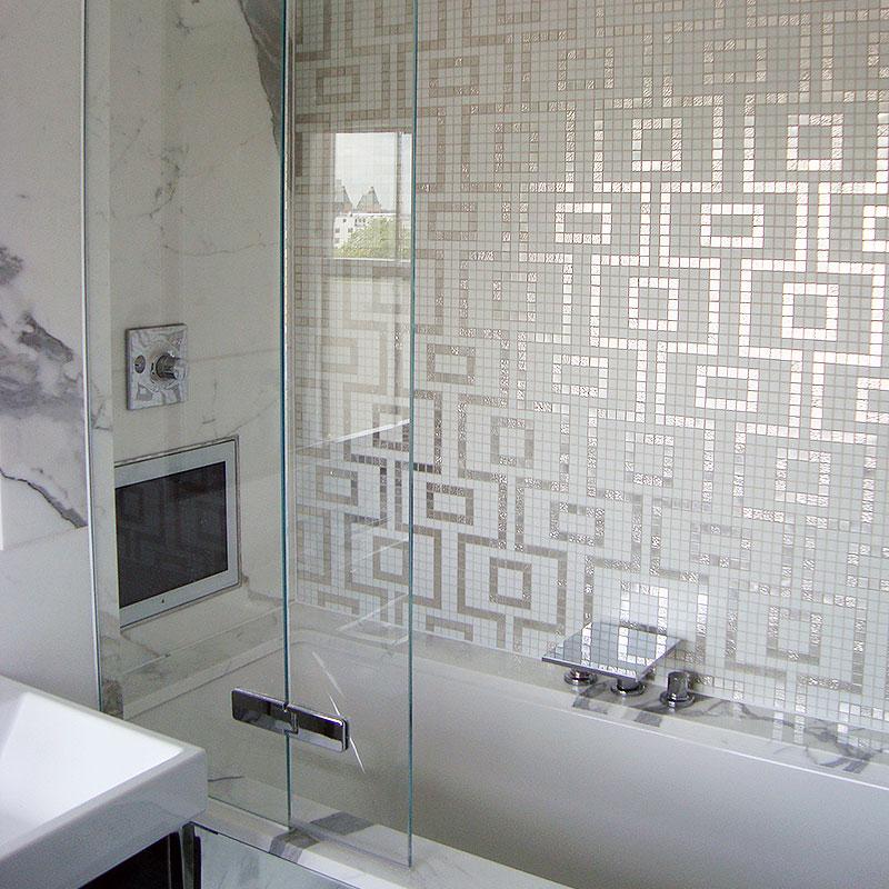 Frameless glass shower with TV
