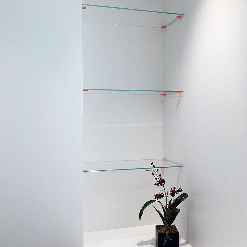 Bespoke glass shelves