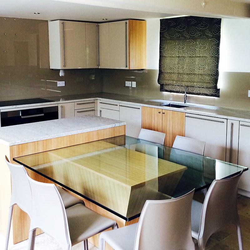 Bespoke glass kitchen table