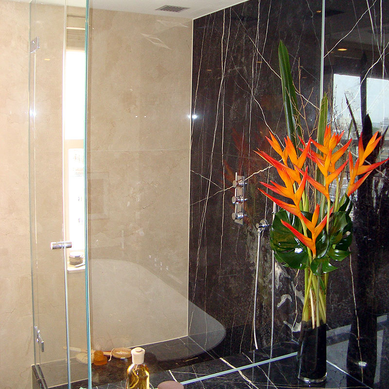 Beautiful glass in a marble bathroom