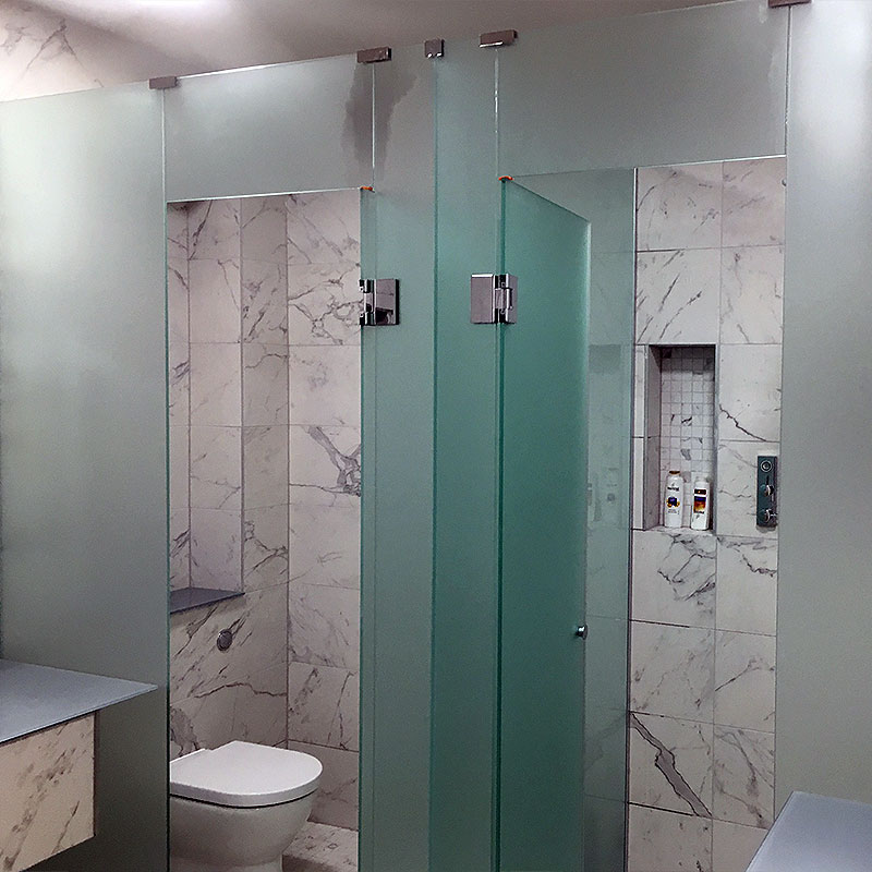 Frosted glass shower cubicles