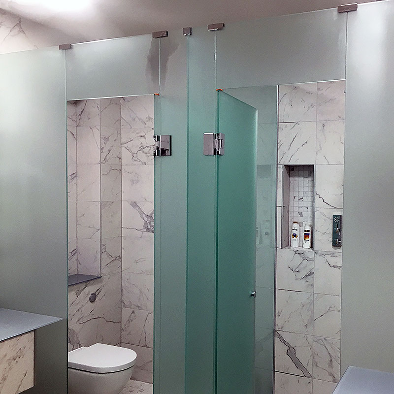 Frosted glass bathroom cubicles