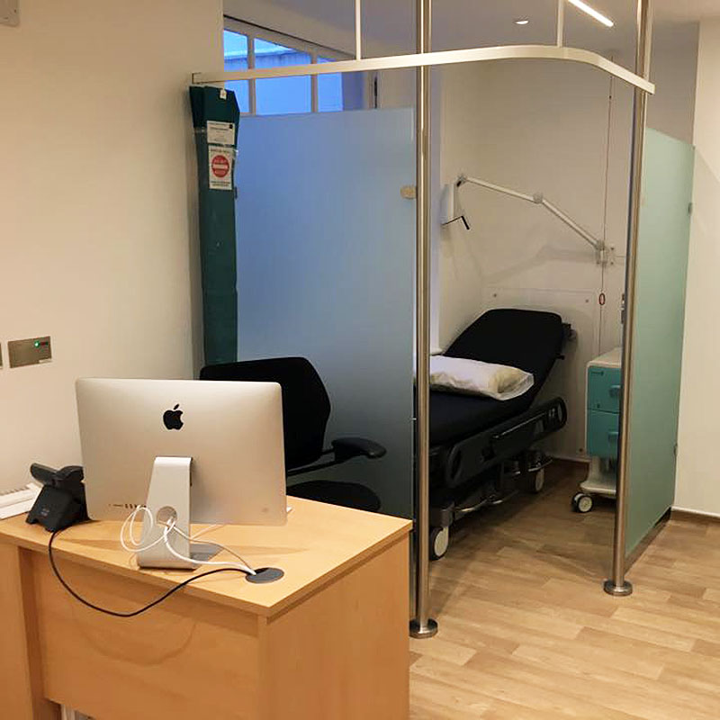 Frosted glass clinical cubicle