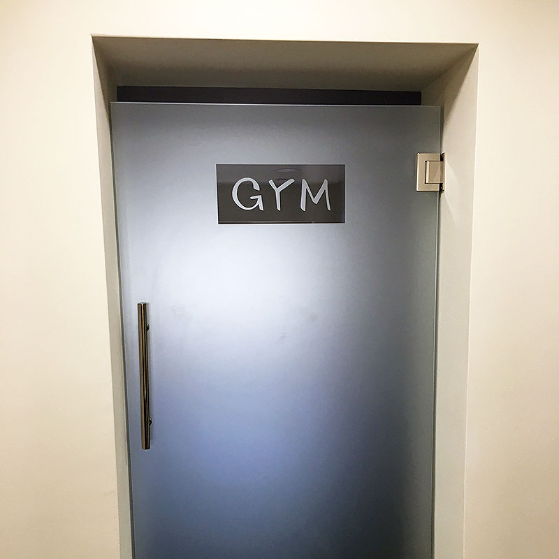 Frosted glass gym door