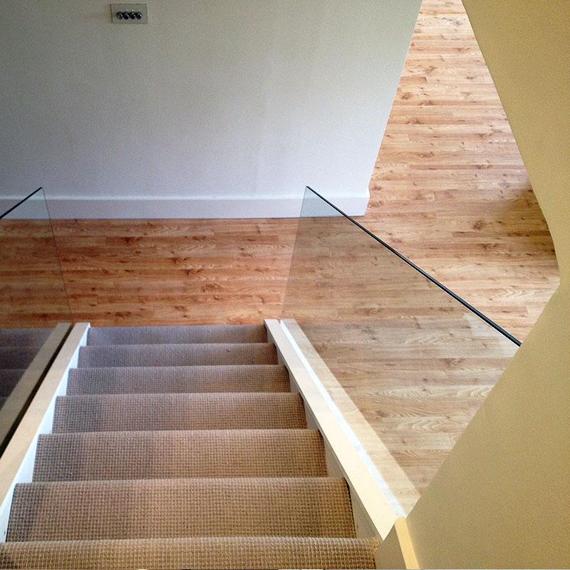 Glass balustrade in a home in London