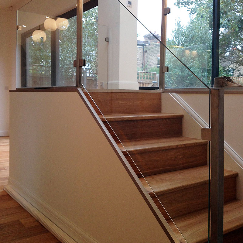 Interior glass balustrades leading to mezzanine