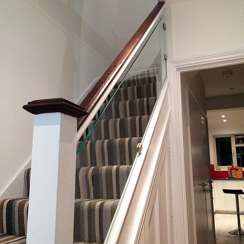 A twist on a traditional stair balustrade in modern home