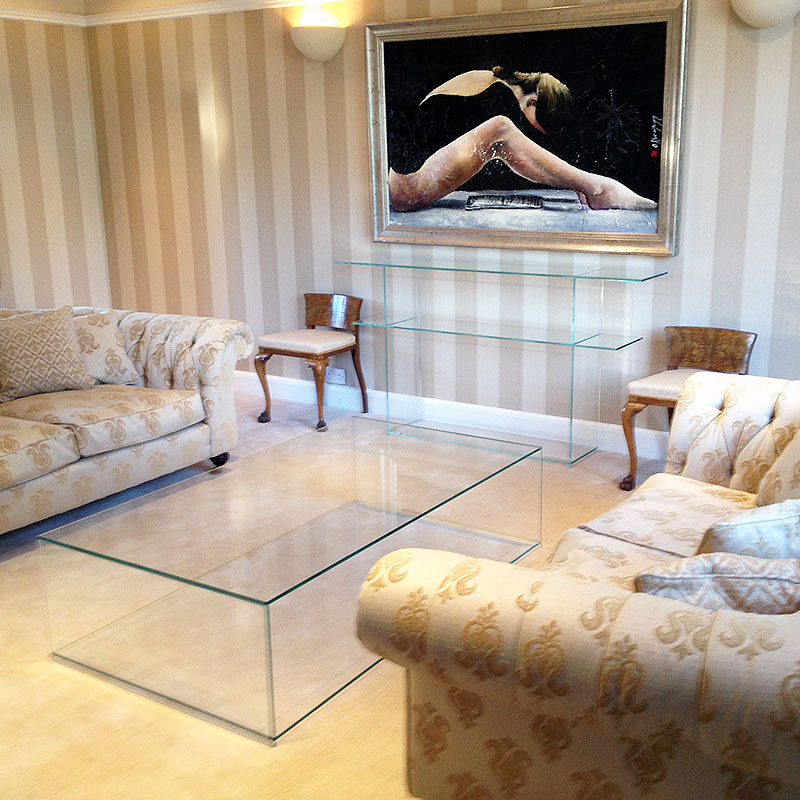 Bespoke glass coffee table and shelves