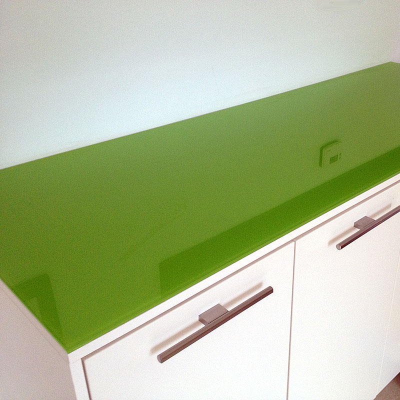 Bespoke green worktop glass