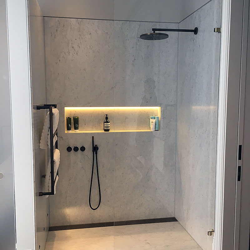 Frameless Glass Shower with illuminated panel