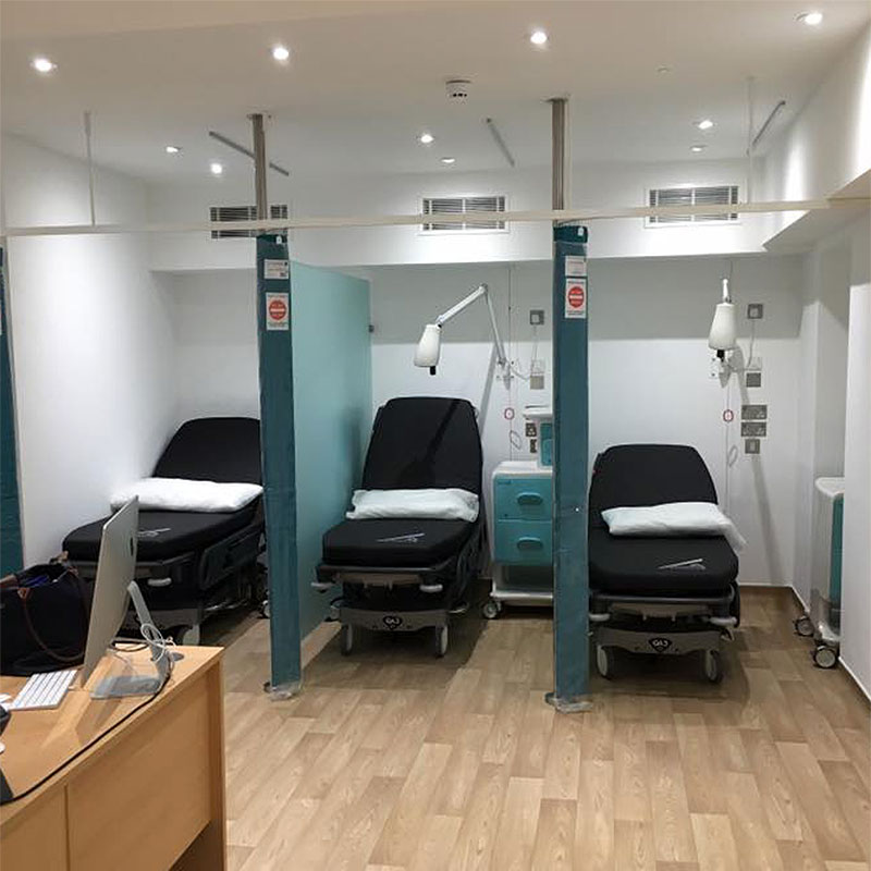 Frosted glass medical partitions