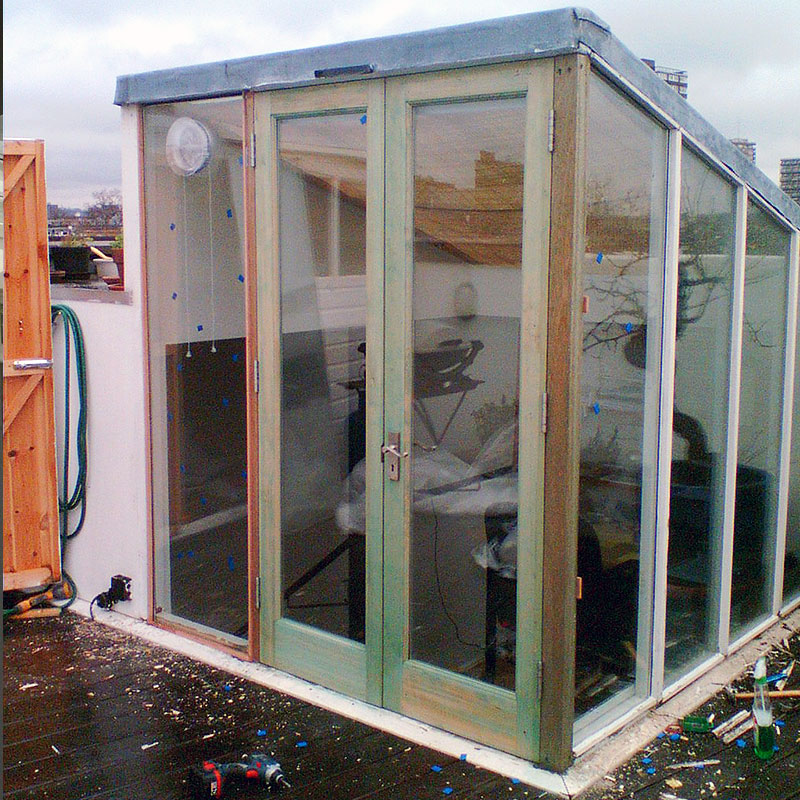 Glass doors installed on a roof in London