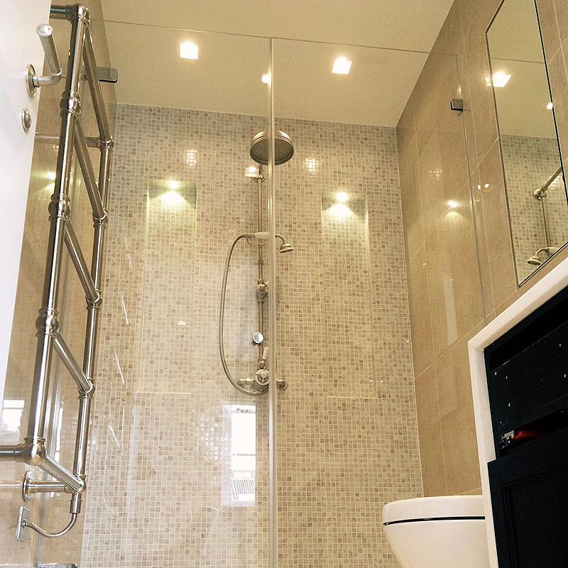 Frameless shower glass with double front