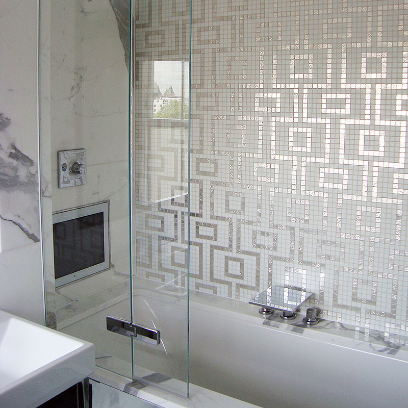 Frameless glass shower with TV